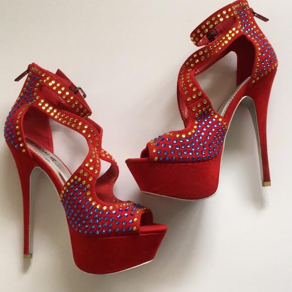 3f7271e91f22 Rhinestone Glam Flamingo Red Stilettos Heels 9